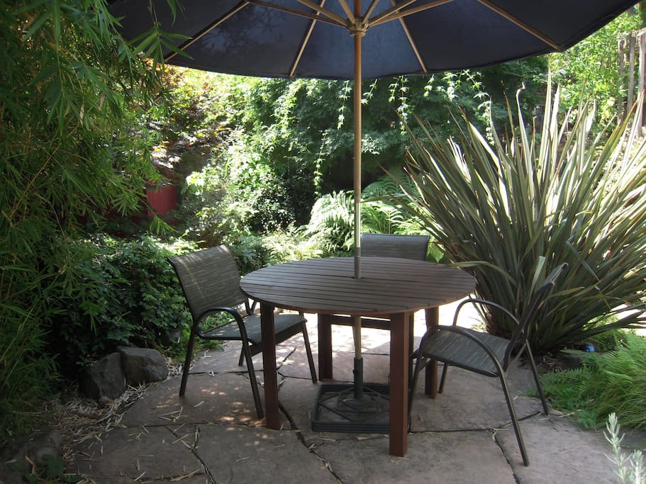 Wonderful spot for reading, relaxing, dining outdoors. Lucy the Lab might join you.