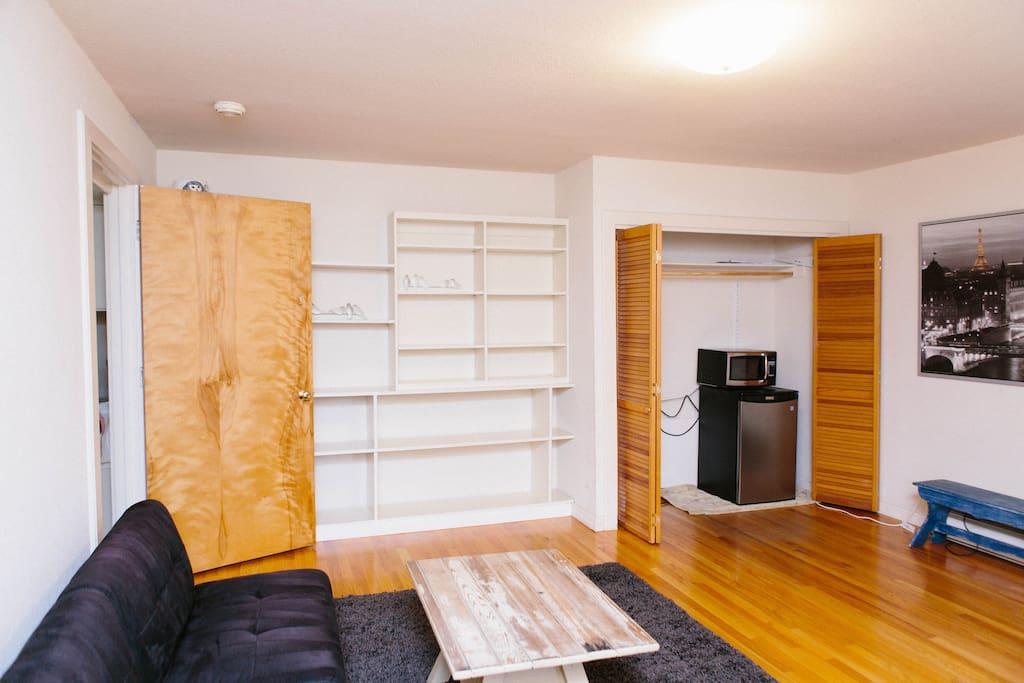 Mini-fridge and microwave. Lots of storage space.