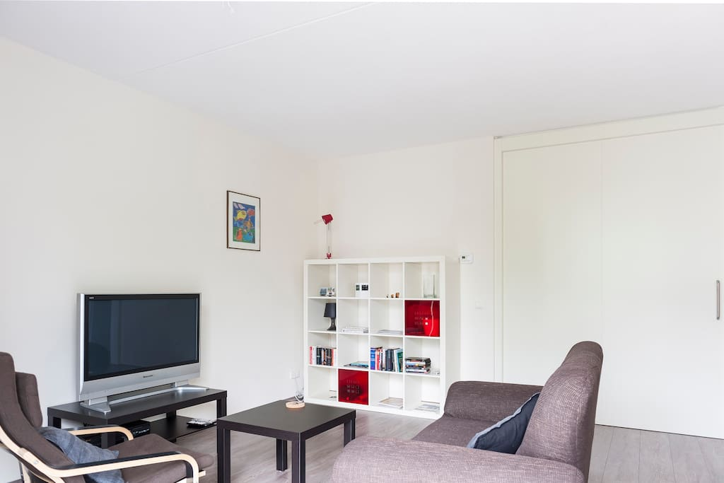 Enjoy a DVD on the flat screen TV or find a book to read on the comfy designer sofa.