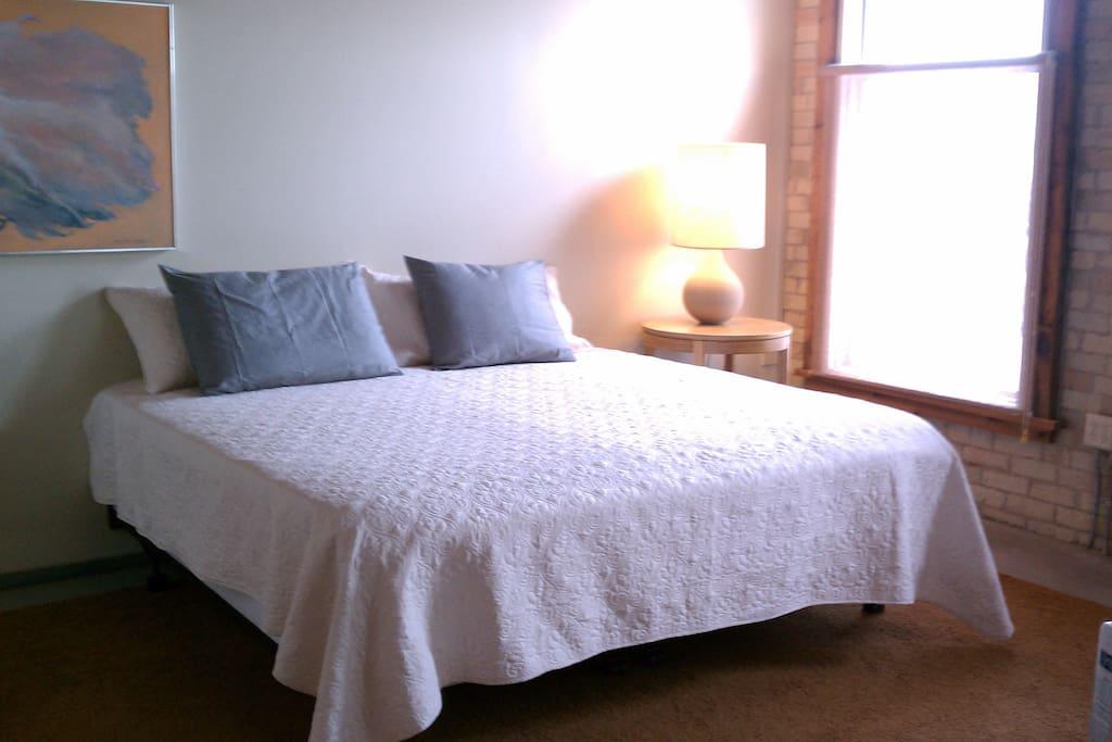 Master Bedroom King bed with gel memory foam, walk-in closet, master bathroom