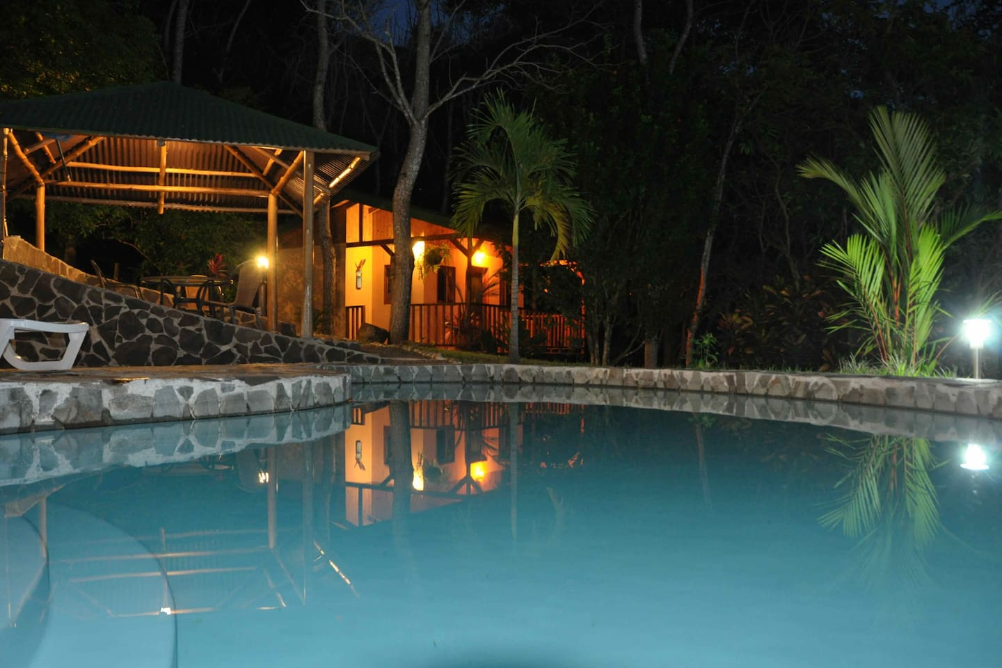 Casita Carambola from the swimming pool at night