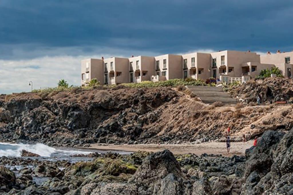 The duplex from the beach!    the beach is a few steps!!!!!