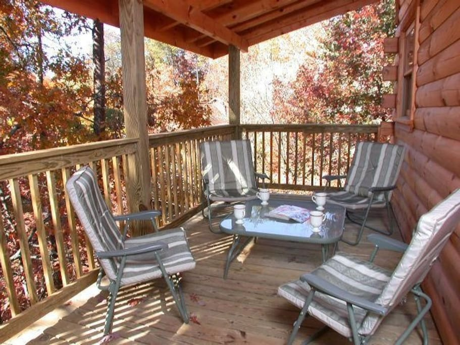 Maybe coffee, card game, or just visiting on the deck with an autumn view