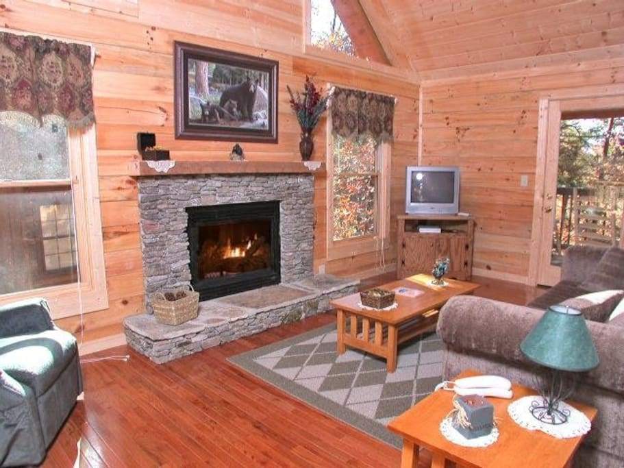 Living Room with fireplace and plenty of room for friends and family