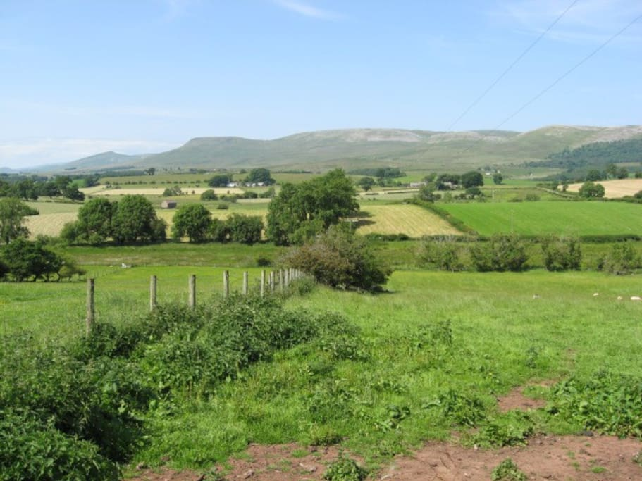 Rear farmland and Pennine hills