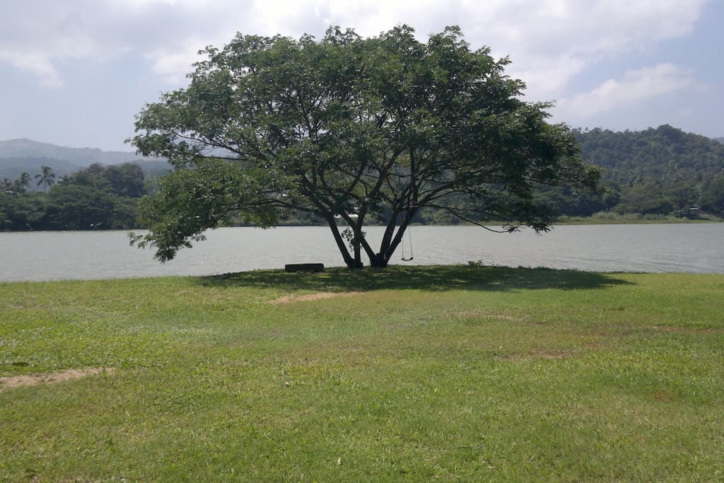 Spacious garden with river views (picture shows river at the high level after heavy rains)