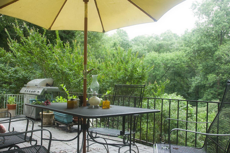 Enjoy the back balcony overlooking the yard