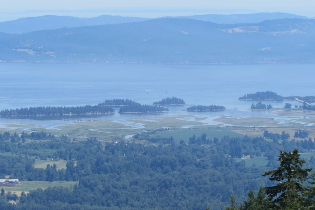 From Mount Sicker looking at the  Crofton estuary . I live on the creek, center left . You can see Bonsal's creek.