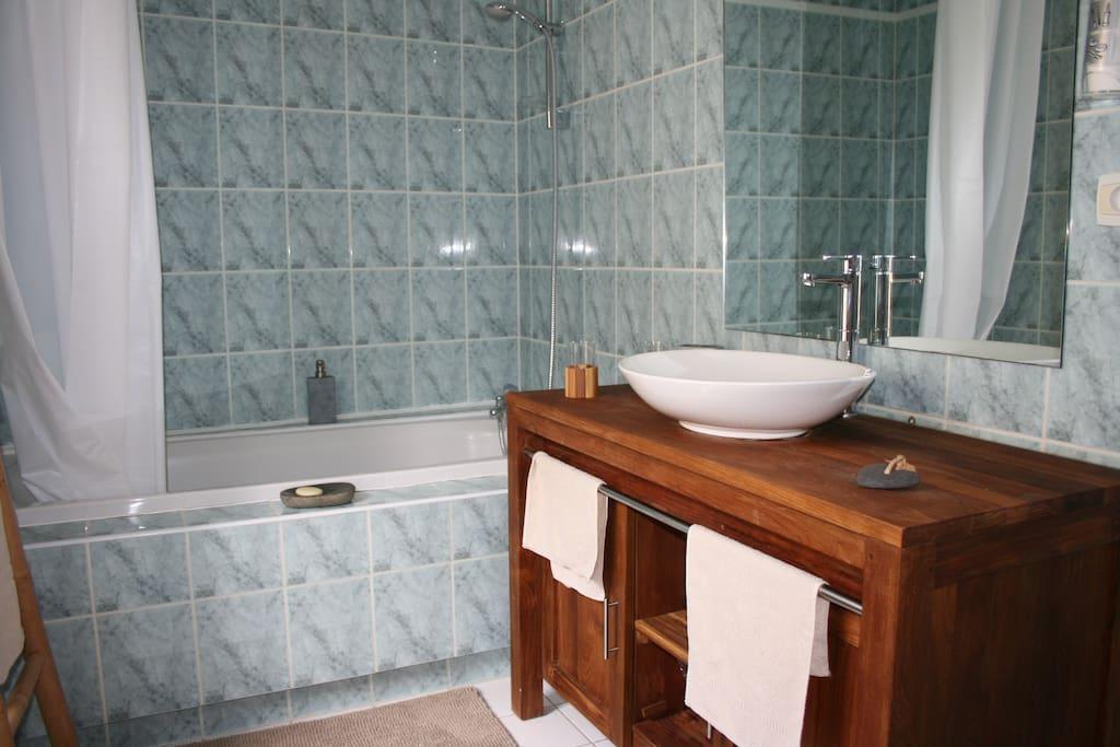 Salle de bain avec baignoire, douche, lavabo, WC