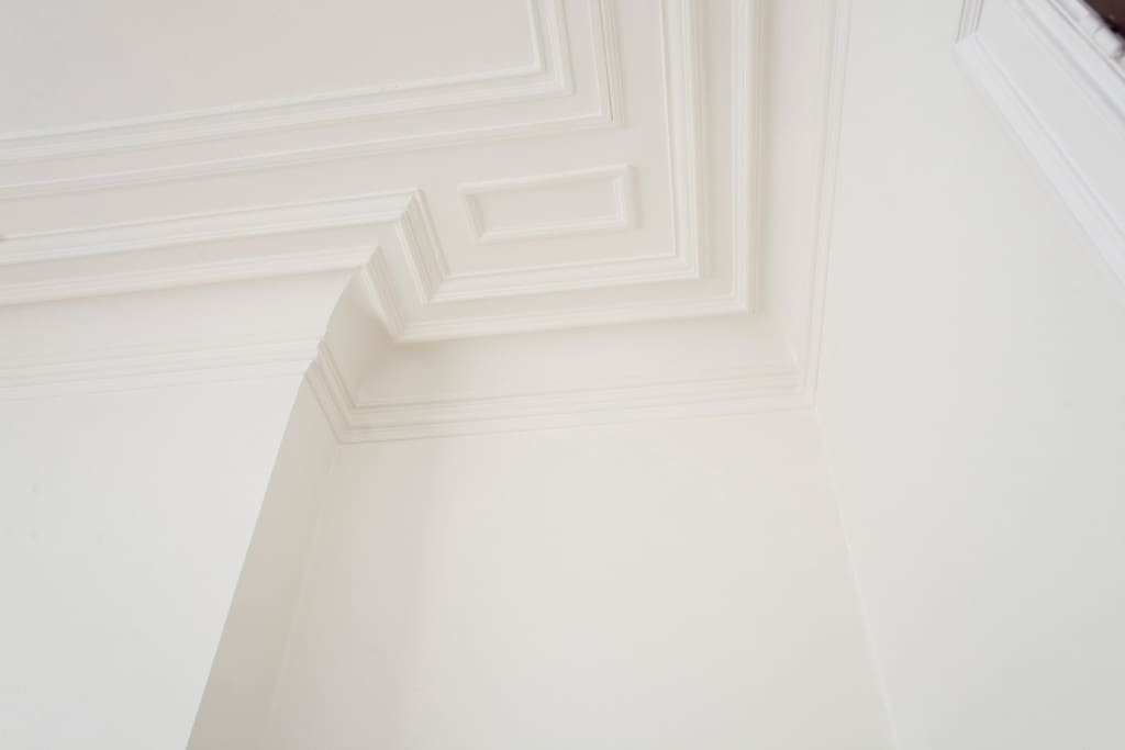 Beautiful moulding on the ceilings throughout the apartment.