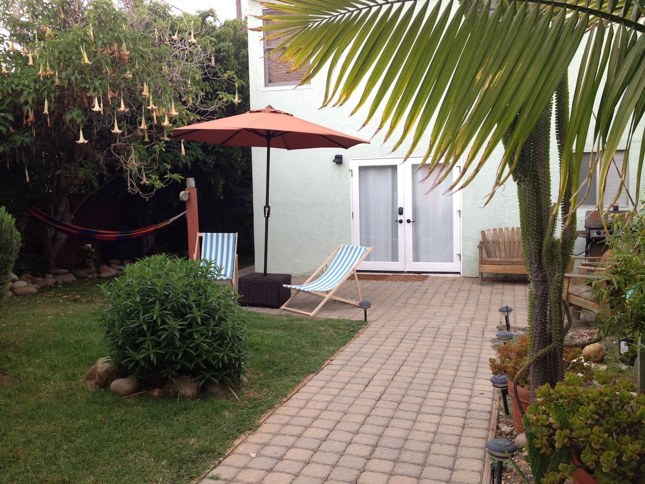 relax in the hammock or sip a frosty beverage underneath the patio umbrella