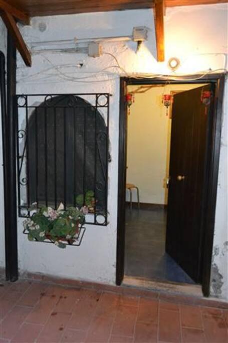 You enter through a little courtyard