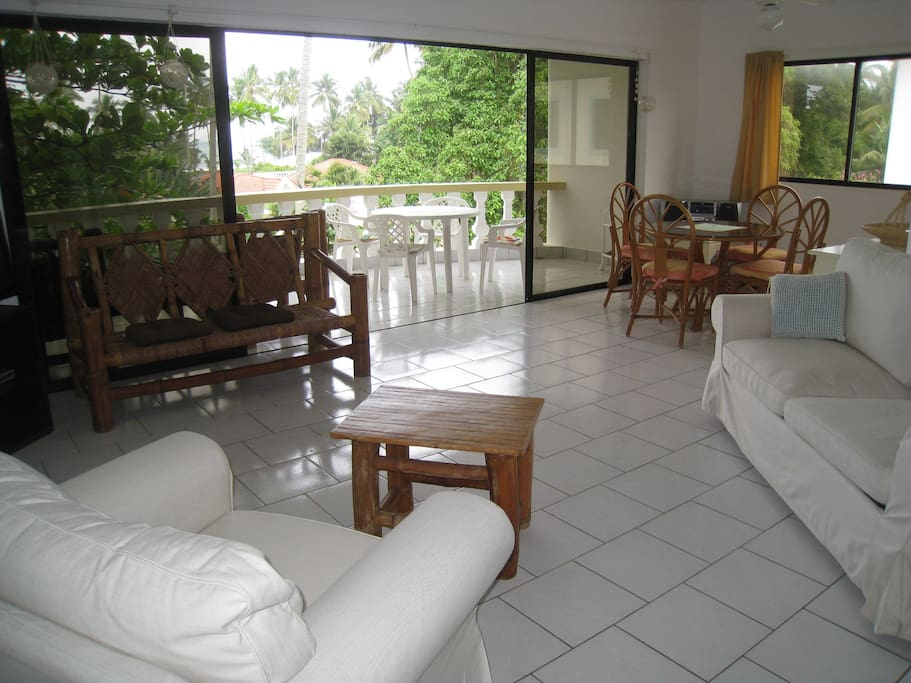 Living area with open up sofa