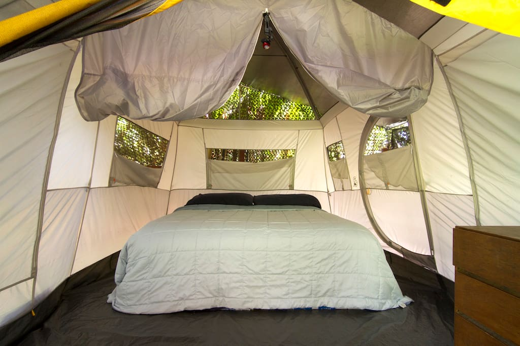 Sealy posturepedic king size bed in enclosed tent with fresh linens
