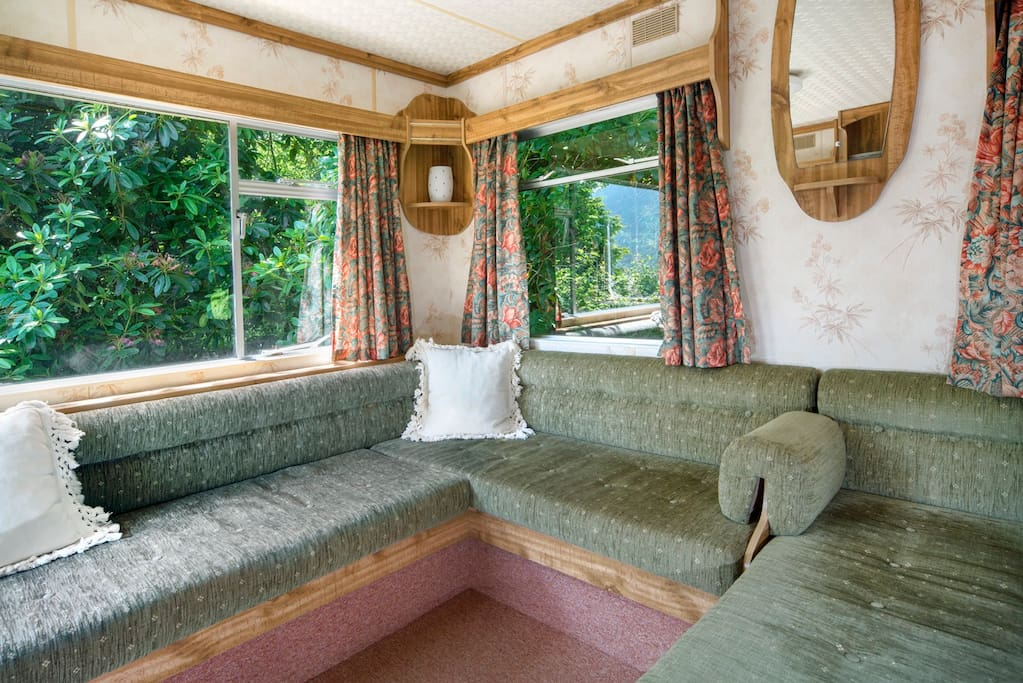 The lounge area - you can watch the birds and red squirrels from inside