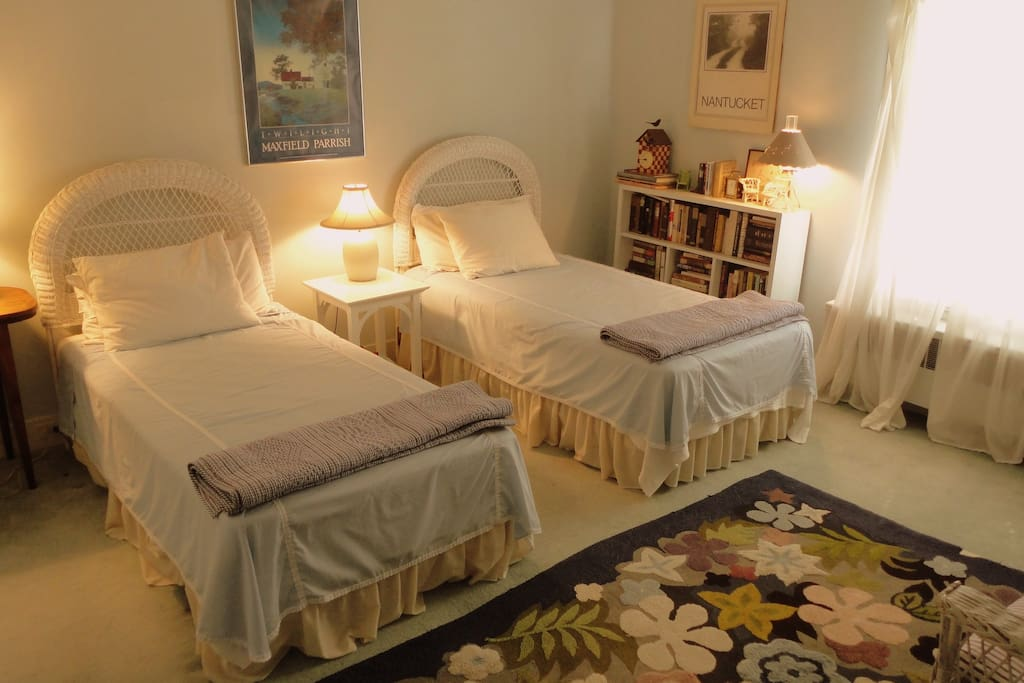 Upstairs in the Blue Room. Twin beds