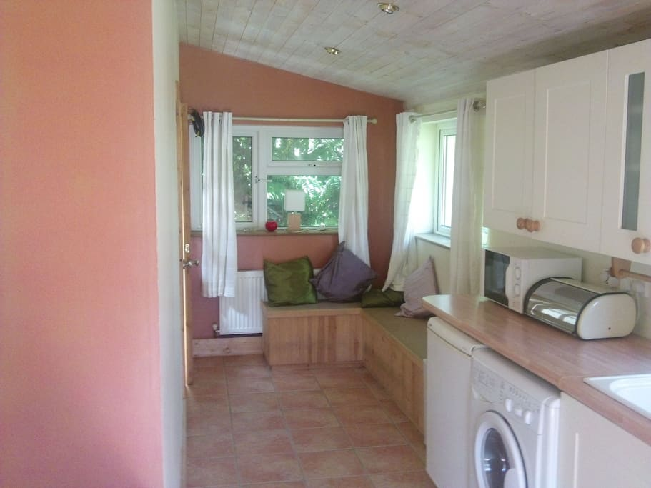 kitchen with all mod cons and cosy living area