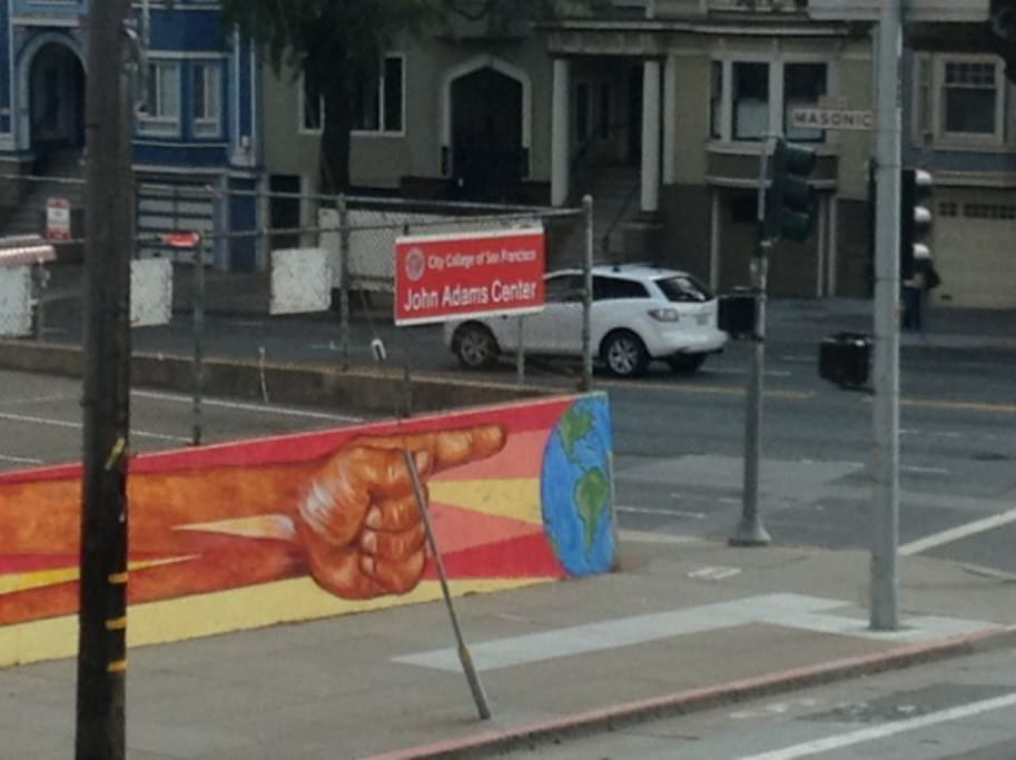 This is the view from the room looking at the mural on City College, One Love