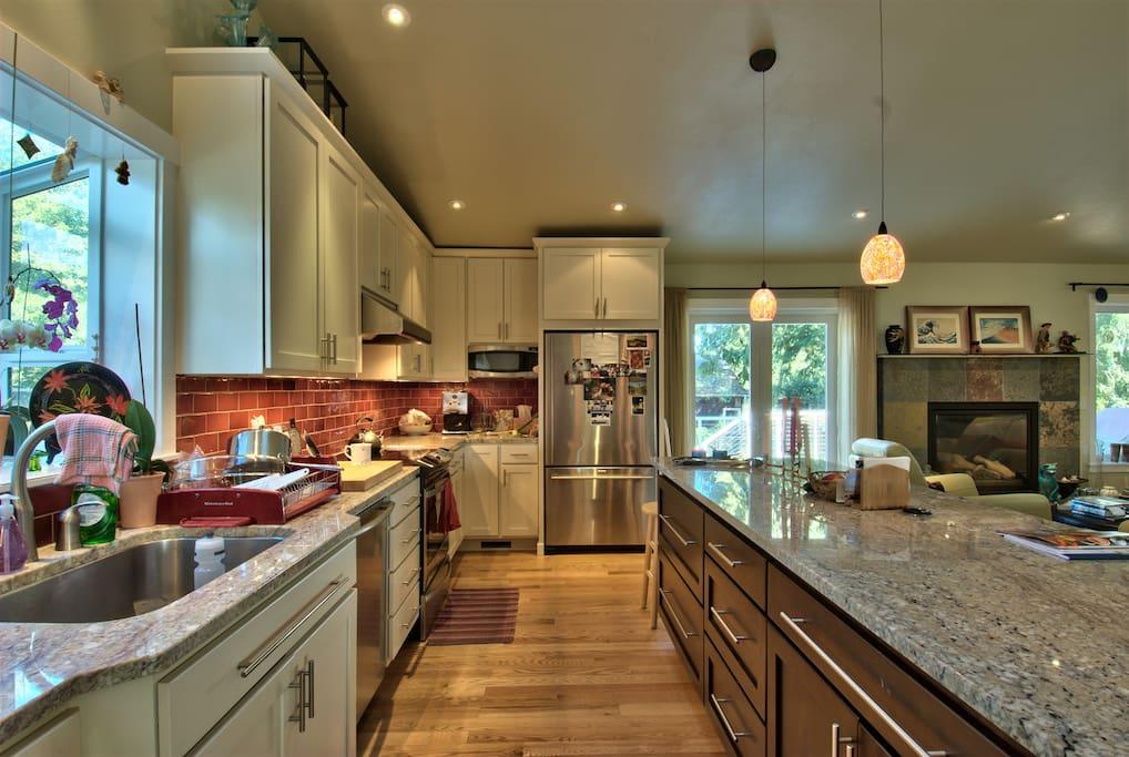 Spacious light kitchen.