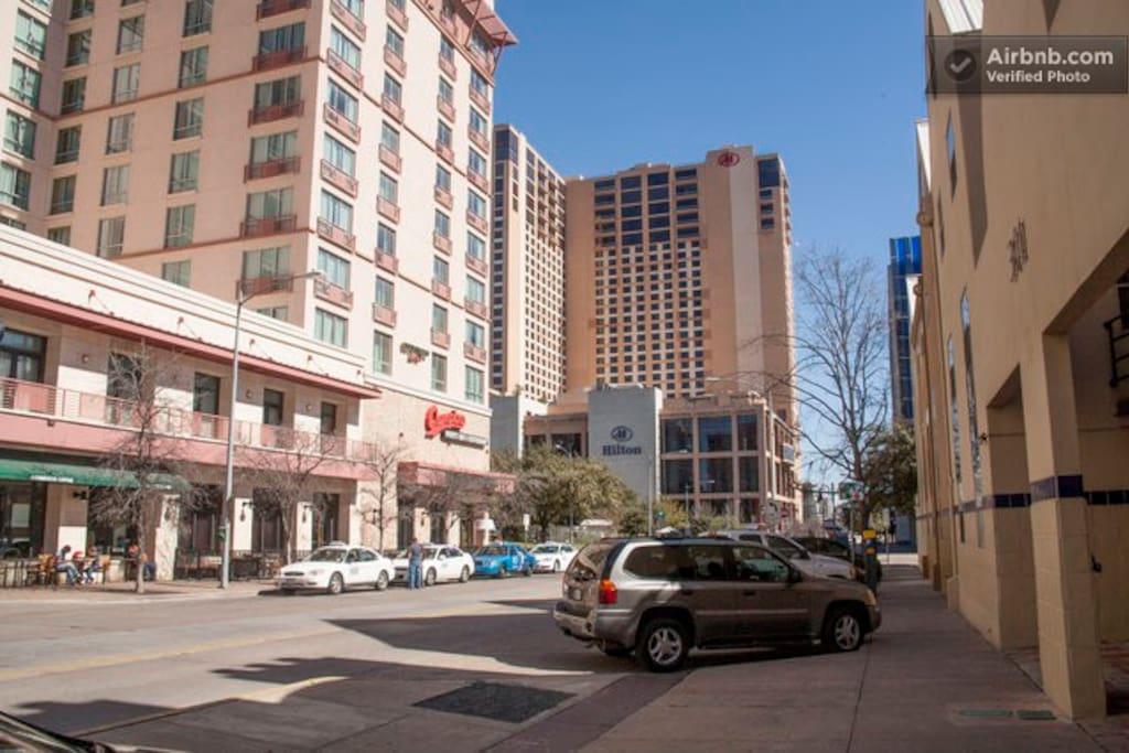 Across the street from Starbucks, Marriott/Residence Inn and diagonal to the Hilton.