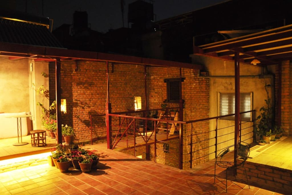 The comfortable and sunny roof terrace
