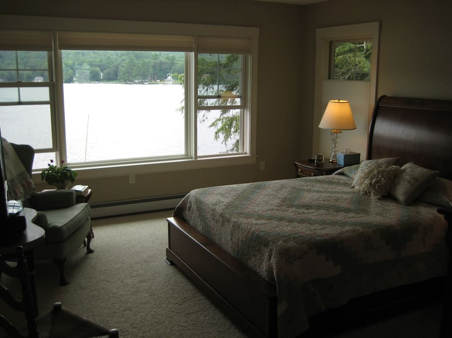 Master BR with queen bed, lake views and shower bathroom.