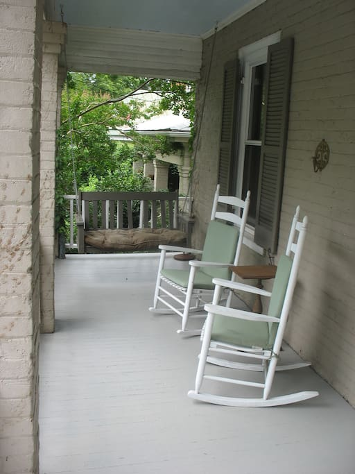 Front porch, with rockers and swing