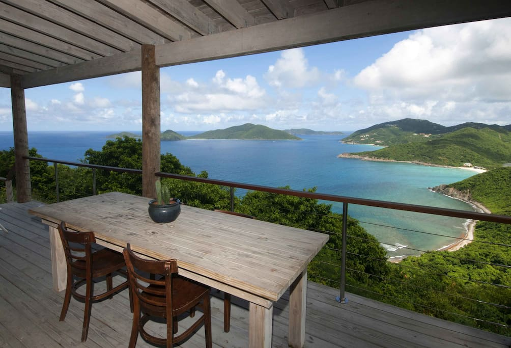 Outdoor dining area with scenic view of the islnds