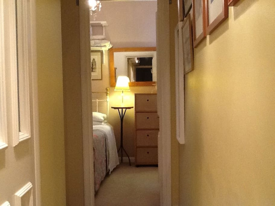 A view of the bedroom from the hallway