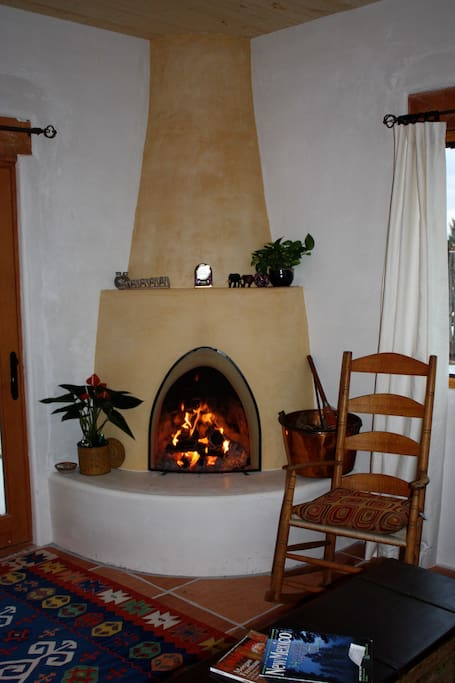 Kiva fireplace lends heat and comfort