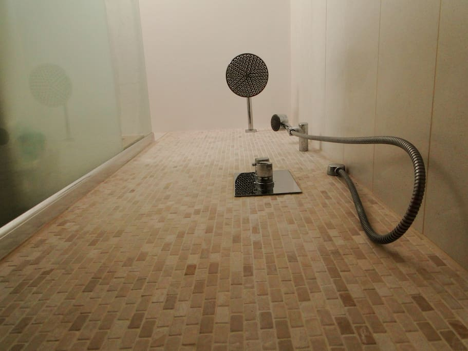 Over head rain fall shower and flexible  shower head for the best of both worlds
