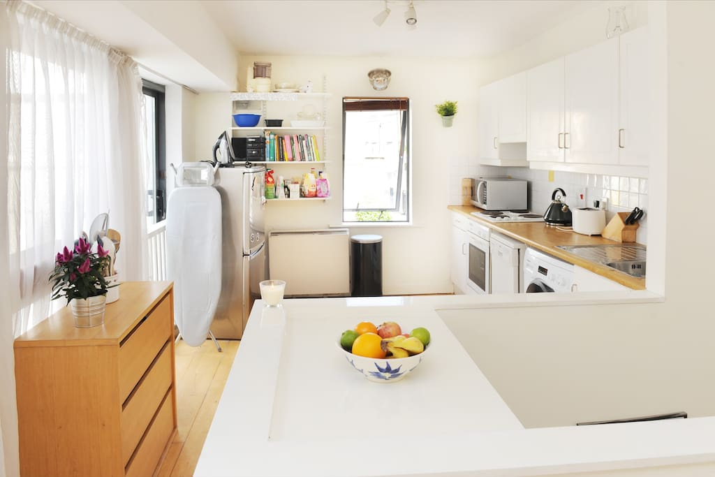Kitchen Area, with Fridge/Freezer, Microwave, Hob, Oven, Washing Machine & Dishwasher