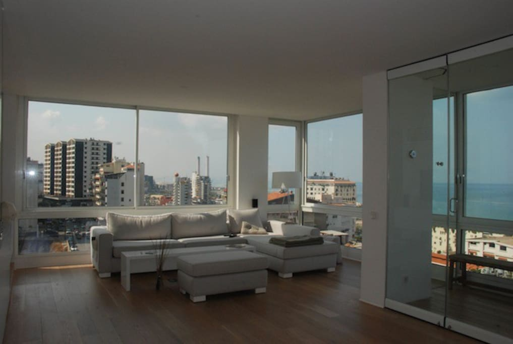 View on Kaslik shopping street and Sea - openable windows and available curtains