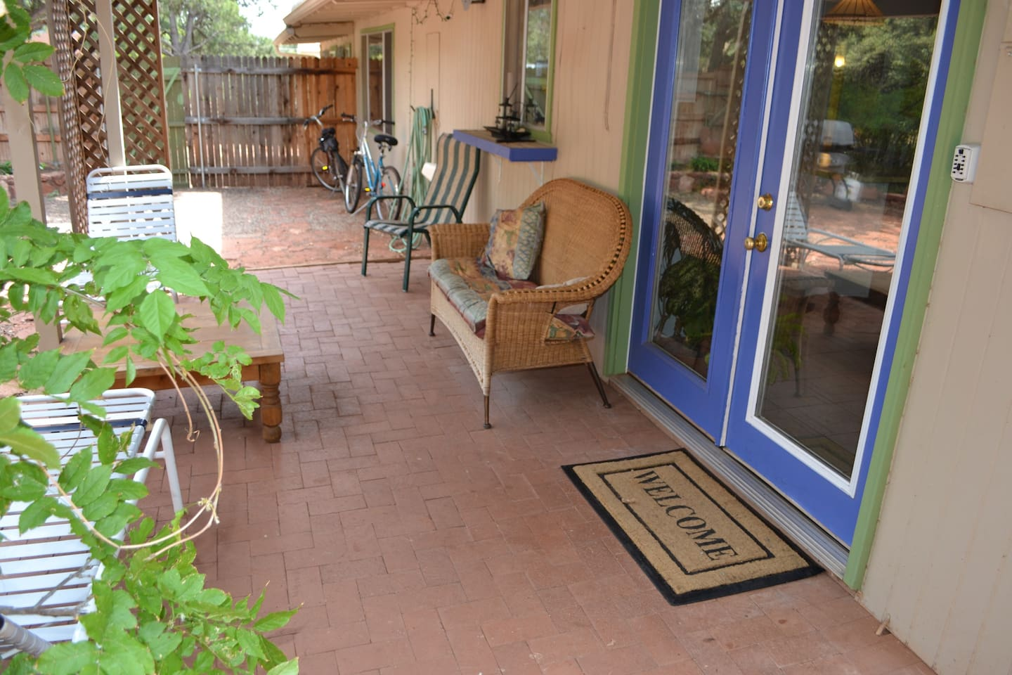 Outdoor patio with bikes for use