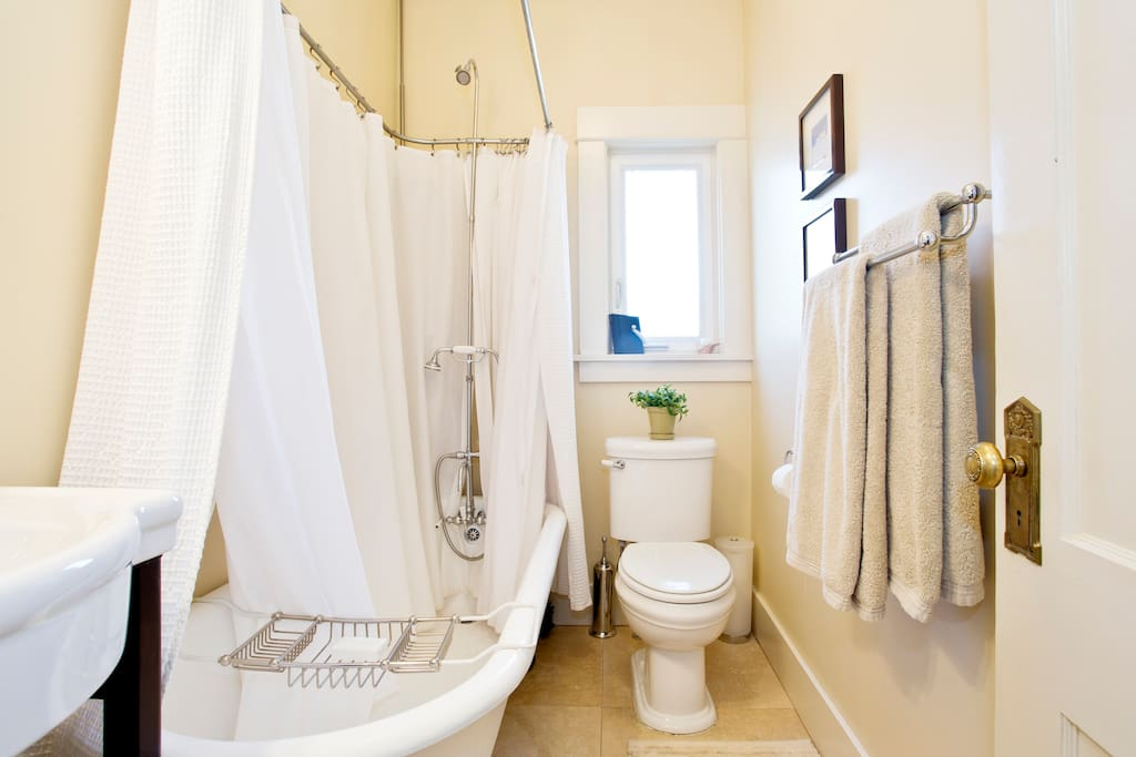 Large soaking clawfoot tub. Floors of bathroom are heated. Mirror is also heated to prevent any chance of fogging.