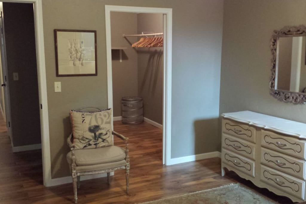 Guest room with dresser and large, walk in closet