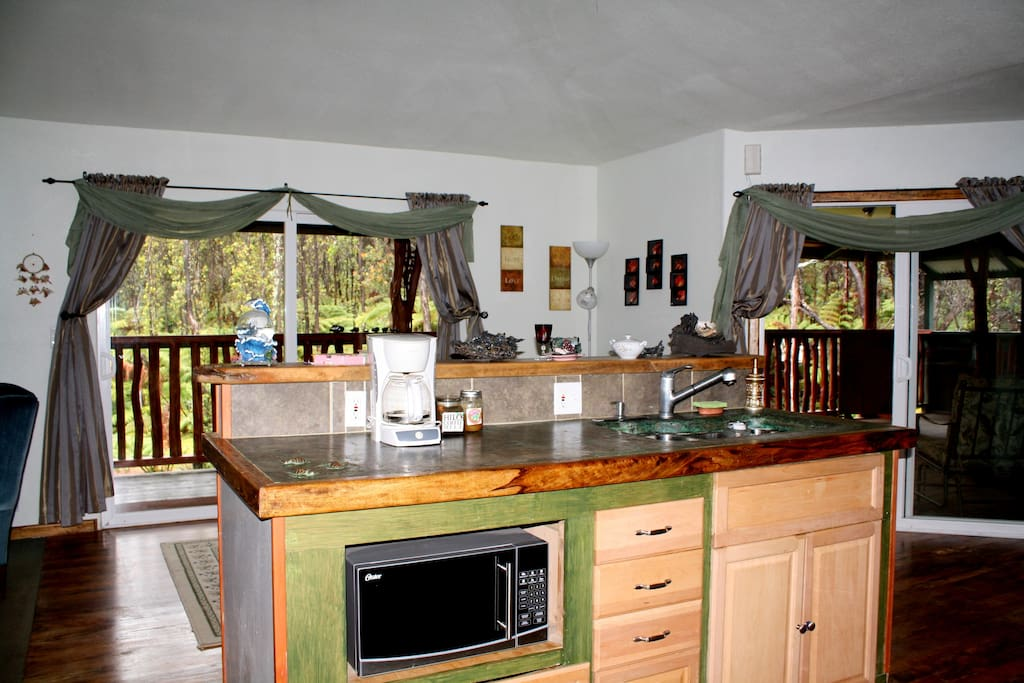 Hale Ohana Vacation Rental kitchen and dining room.  Laundry facilities available too!