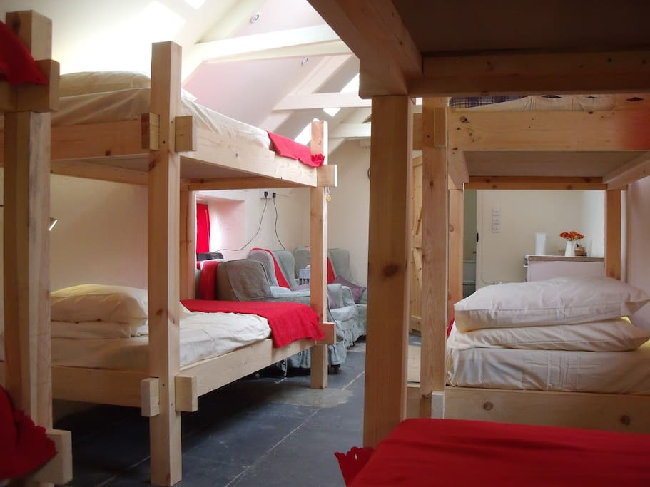 We've swapped out the chairs for a big squishy comfy sofa, or we can add an extra set of bunks if needed.