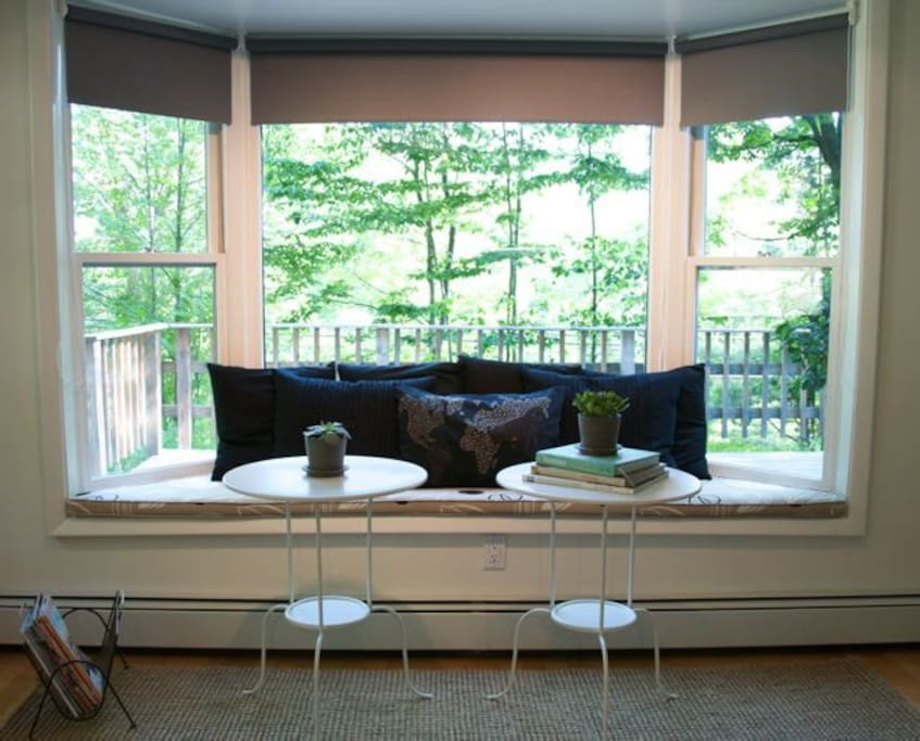Bay window sitting area in the kitchen