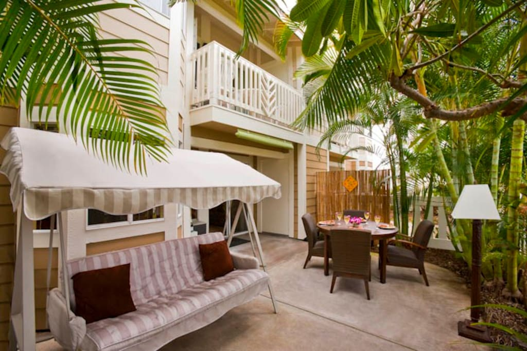 The lanai is peaceful and looks out on a garden.  There is a private BBQ for your outdoor pleasure.