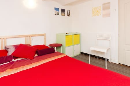Small but cozy mezzanine double room in the Poblenou District of Barcelona, just in 10 minutes walking distance from the best beaches of Barcelona and Rambla de Poblenou - street full of restaurants, cafes and bars. Room of 8m2 with ceiling 182 cm.