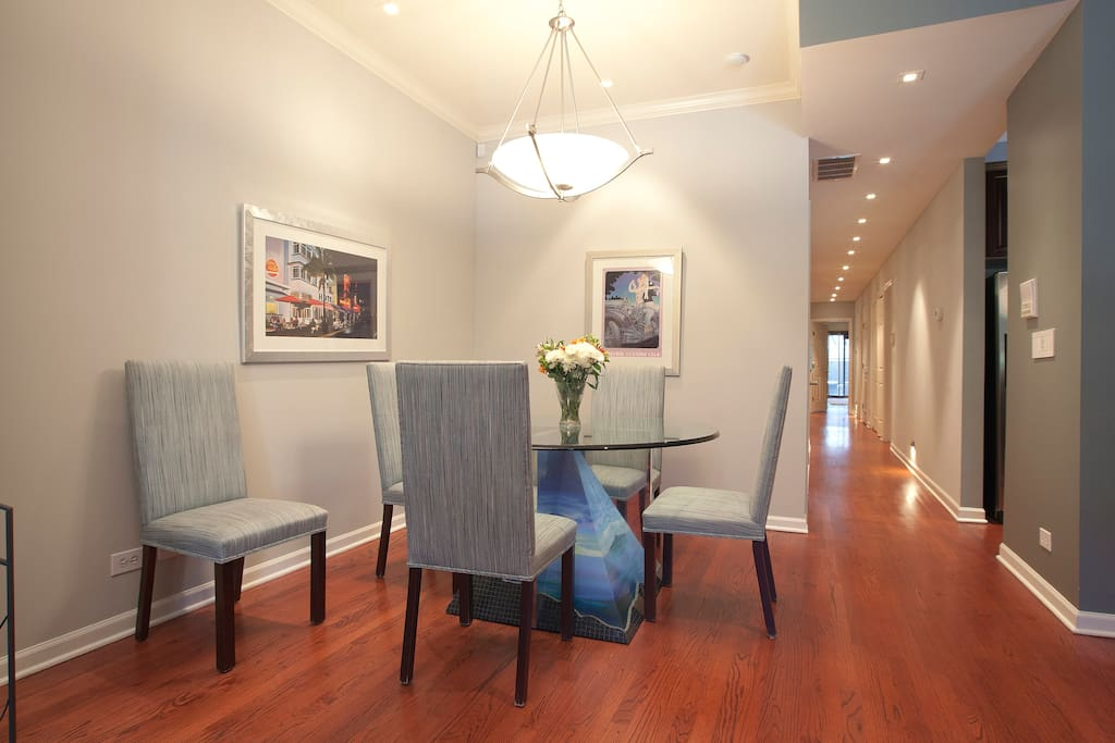 Dining area for six and extra folding chairs are available