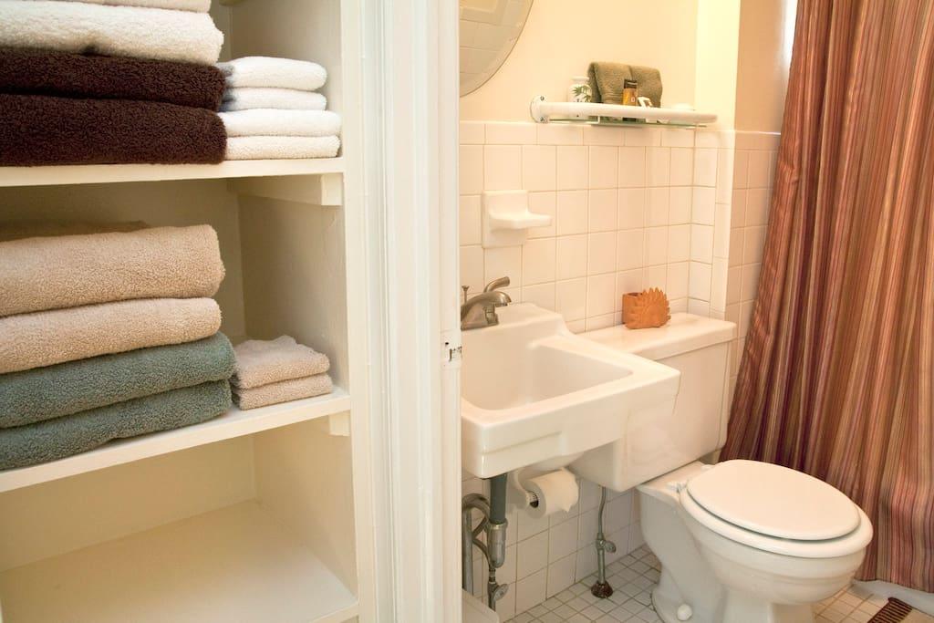 Full Bath on 2nd Flr with plenty of fresh towels, soap and shampoo.