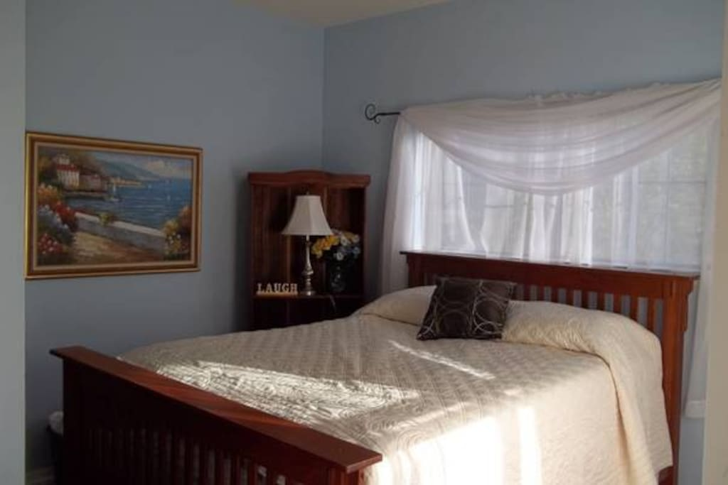Extra comfortable queen sized bed in a cozy private room!