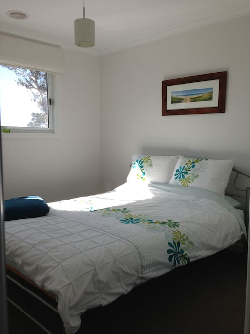 Your bedroom, with block out blind. Doona, pillows & linen provided