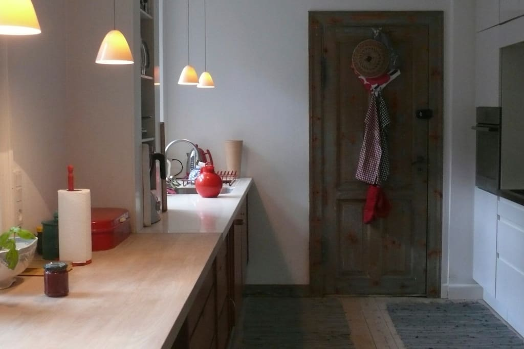 The kitchen and the original old backdoor.