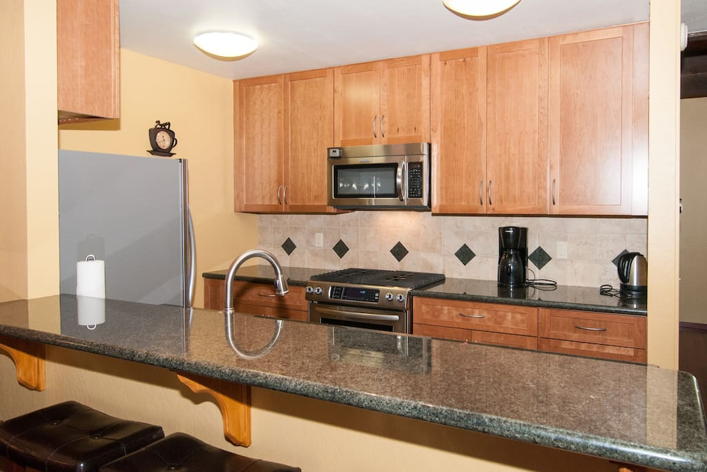 Newly remodeled kitchen with top end appliances and fixtures.