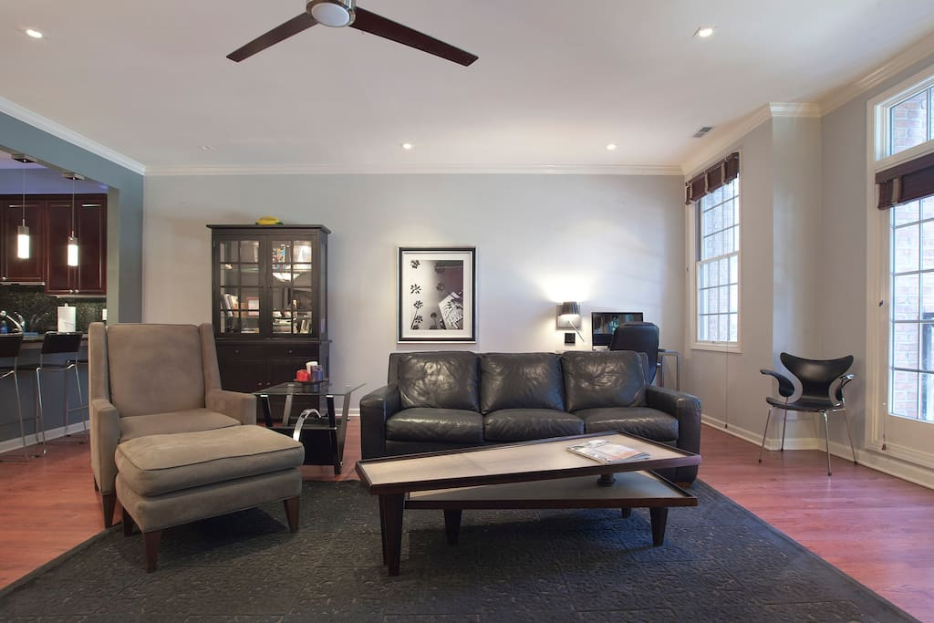 Living Room, all lighting is on full range dimmers to set just the right mood