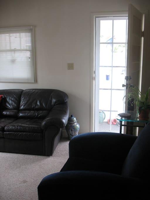 Living room looking out front door.