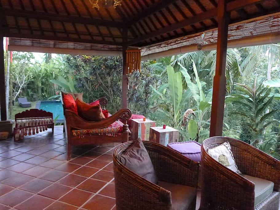 One side of the veranda w pool in background